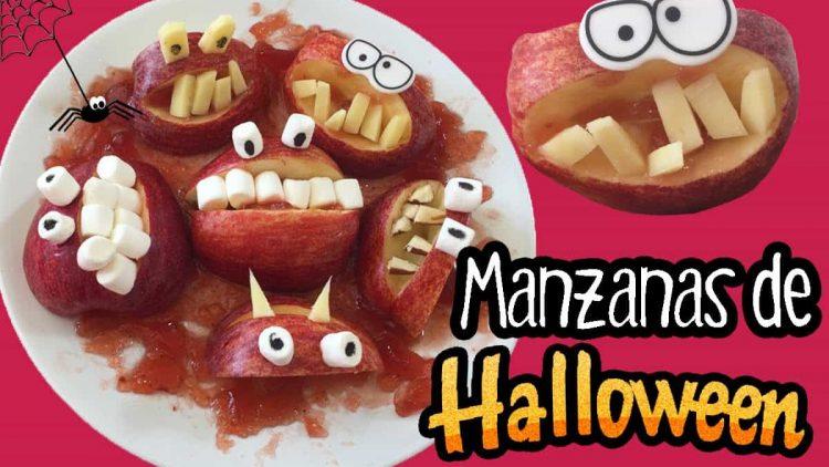 Bocas terroríficas para Halloween con manzanas