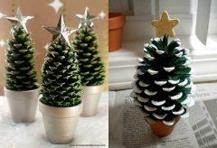 Arbolitos de navidad con piñas de pino / Manualidades en Navidad
