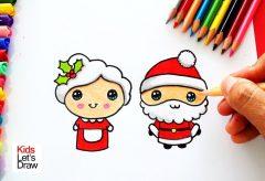 Cómo dibujar a Mamá Noëla y Papá Noël / Manualidades navideñas