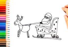 Cómo dibujar a Papá Nöel en su trineo / Manualidades navideñas